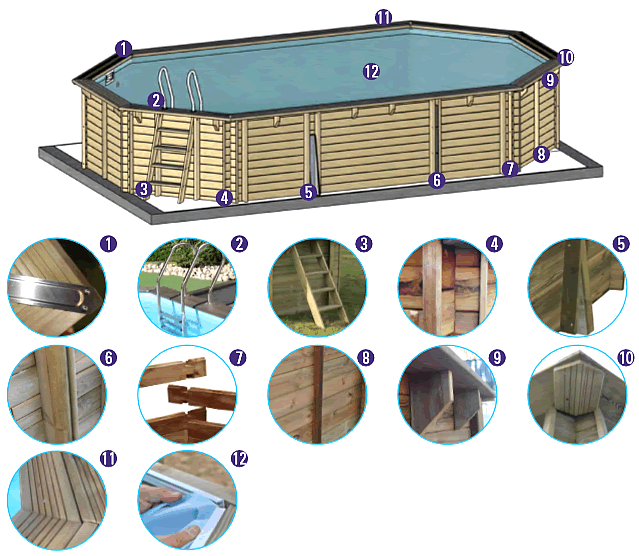 Esquema piscina madera desmontable