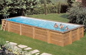 Piscina Madera rectangular mint