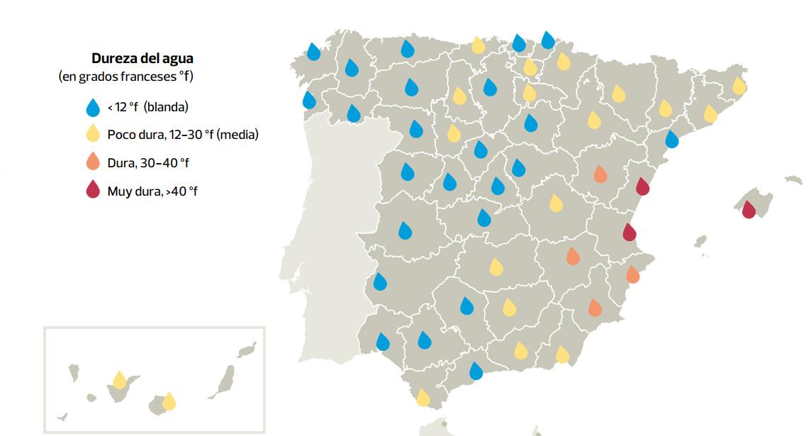 Mapa de la dureza del agua en españa